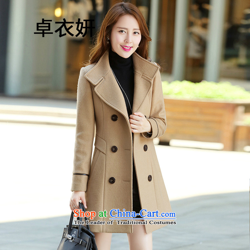 The autumn and winter load 1482_2015 New girl who decorated western double-girl in long Jacket Card its gross?M