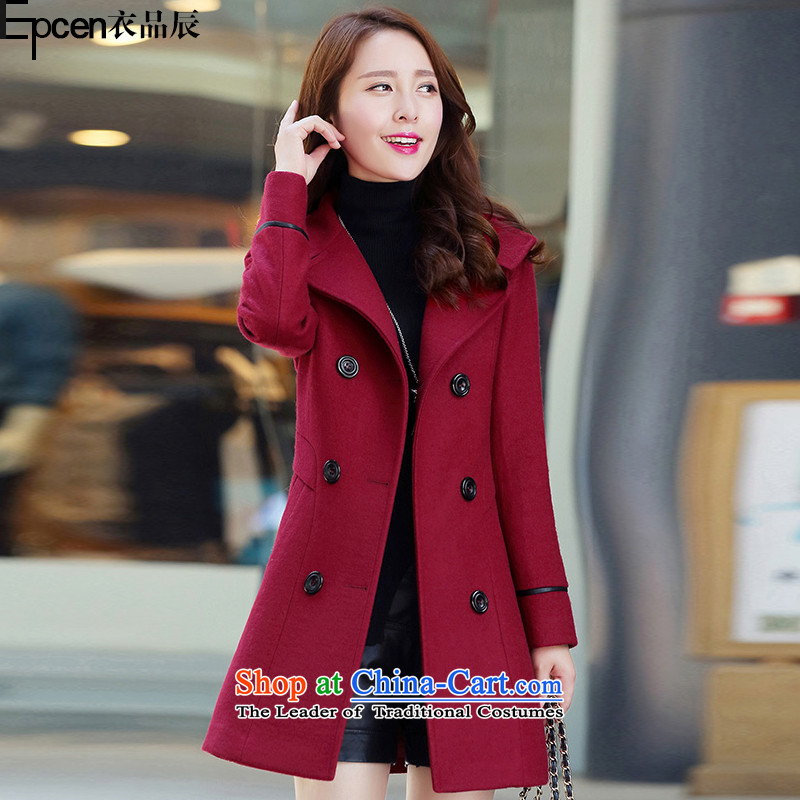 Yi Jin (epcen No. 2015), autumn and winter new products in the women's long MM to xl double-coats BH1231 gross? wine red 2XL recommendations 133-143 catty