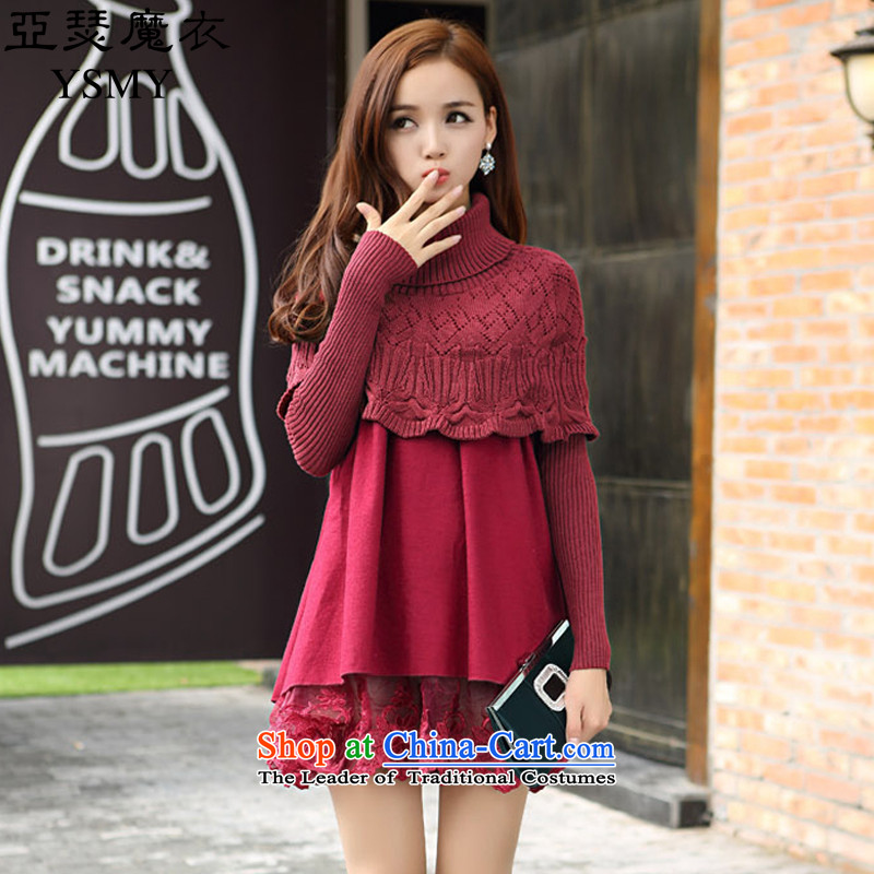 Arthur magic yi�15 autumn, the major new code Women Korean fashion two false gross suits skirts? wine red燤