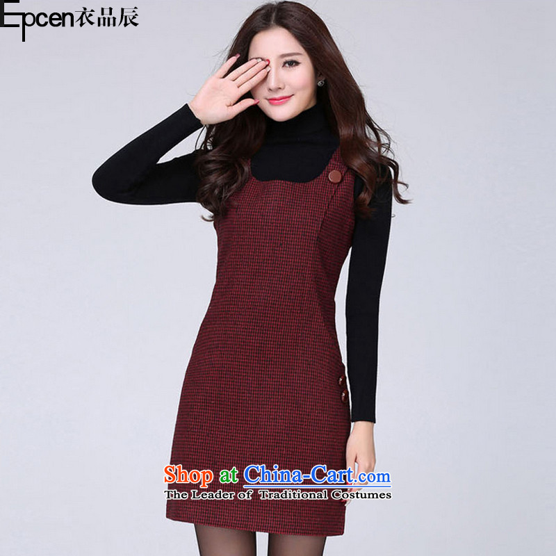 Yi Jin (epcen No. 2015), autumn and winter new products female thick MM to xl vest dresses DXH918 Crimson Red Grid 3XL