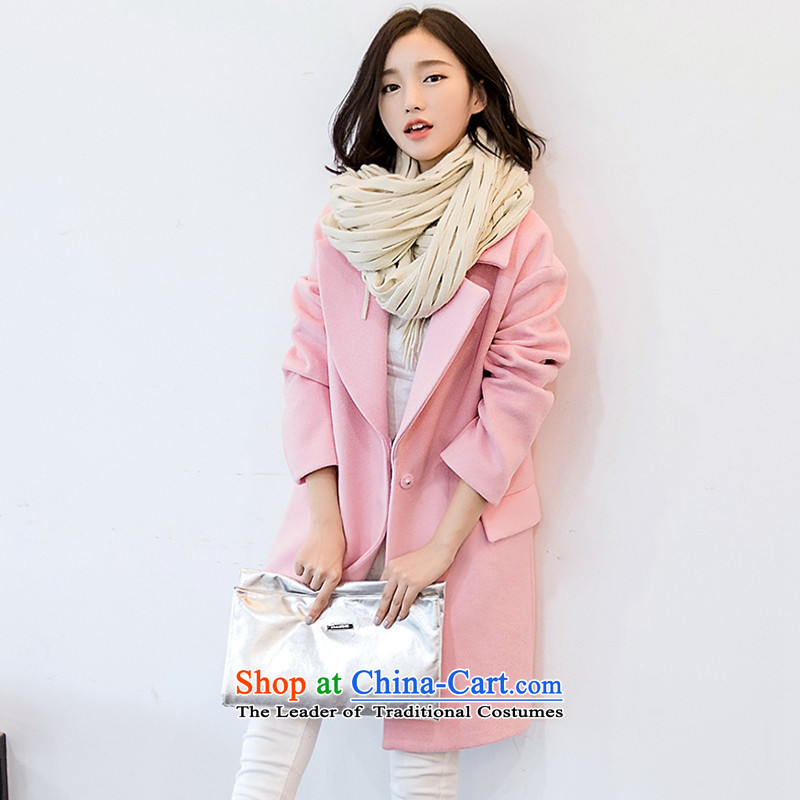 The ki autumn and winter coats of stylish girl Ms.? What gross jacket pink coat temperament Korean Sau San jacket female pink聽XL