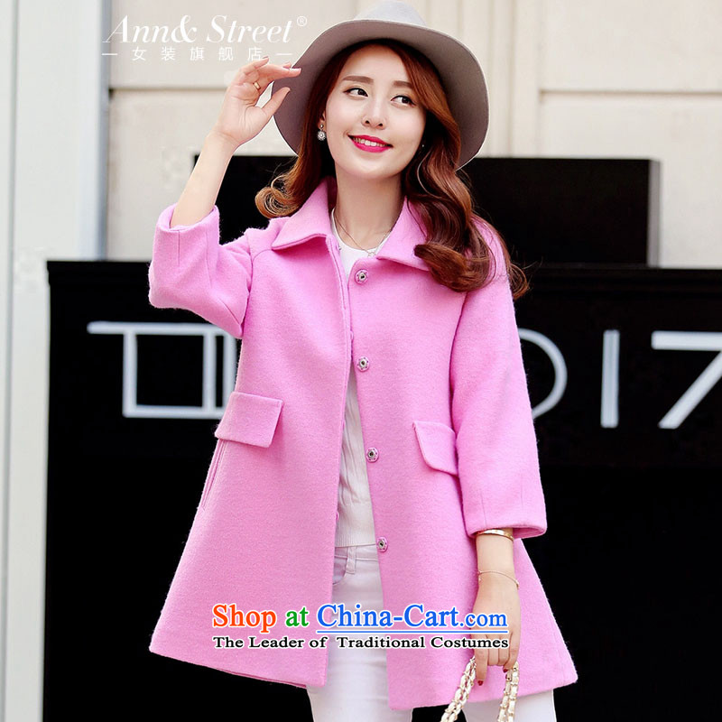 Anne Road�15 new Korean Sleek and versatile solid color large relaxd single row clip hair? female pink jacket coat燤