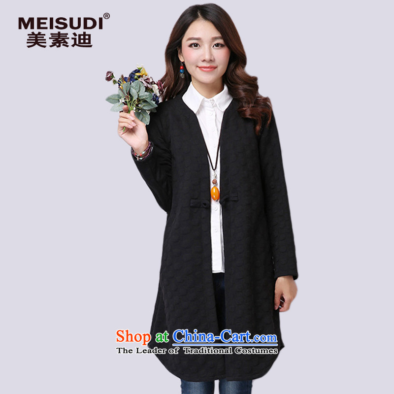 2015 Autumn and Winter Korea MEISUDI version of large numbers of female clamp cotton waffle hooks up long loose video thin black long-sleeved sweater XXL