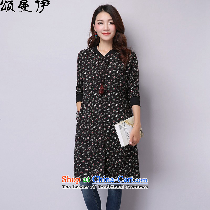 Chung Cayman El 2015 autumn and winter new Korean version of larger female stamp cardigan cotton coat 9919 Black M