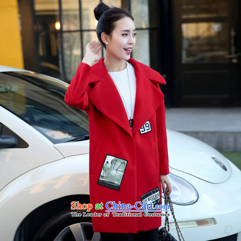 Bathing in the autumn of 2015, New hundreds of women Korean lapel in Sau San long hair? 525 large red jacket coat XL
