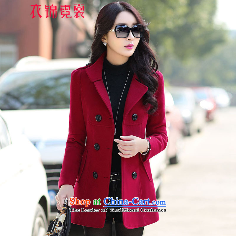 Yi Jin Tysan 2015 Fall/Winter Collections new coats of ladies hair? Korean wild jacket, wine red M