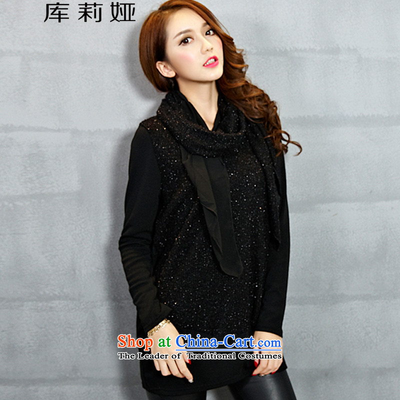 Library Leah 2015 new larger women Fall_Winter Collections Korean to intensify the knitwear K150 black velvet3XL Plus