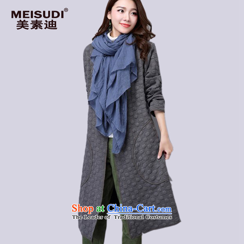 2015 Autumn and Winter Korea MEISUDI version of large numbers of ladies in literary and artistic wild long folder cotton cardigan loose video thin solid color gray long-sleeved sweater XL