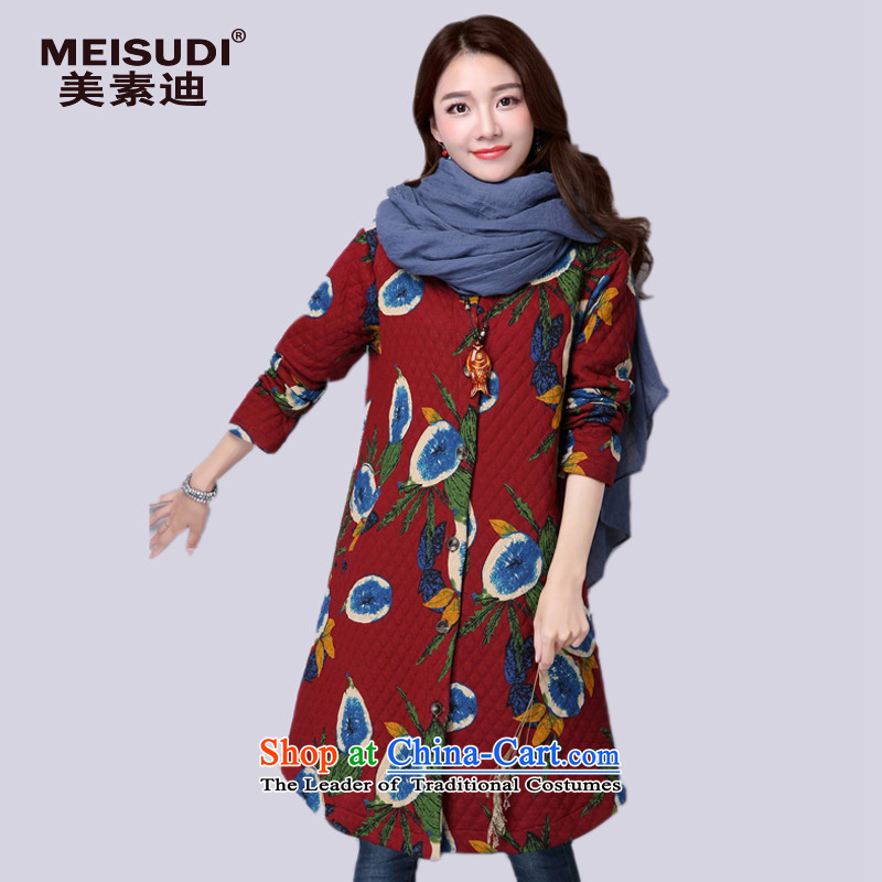 2015 Autumn and Winter Korea MEISUDI version of large numbers of ethnic women arts stamp folder unit in long wild loose video thin red jacket XL