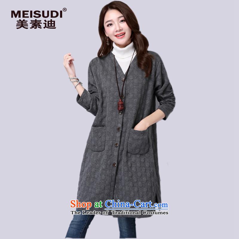 2015 Autumn and Winter Korea MEISUDI version of large code ladies casual relaxd graphics thin van Arts in long cardigan single row tie-ups jacket grayXL