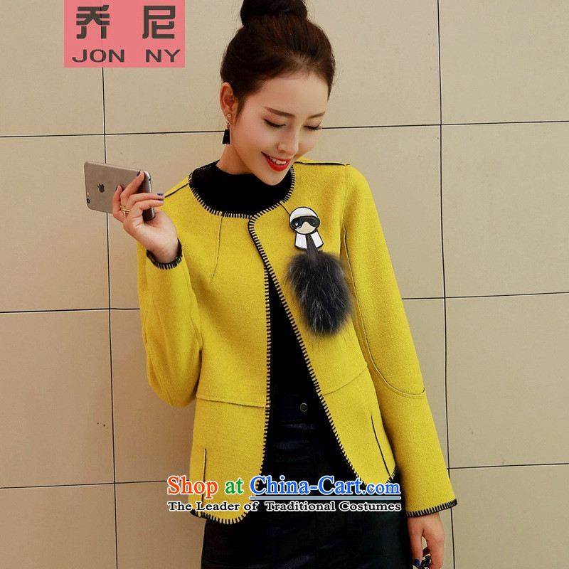 Cioni small wind round-neck collar short-gross? 2015 autumn and winter coats female new long-sleeved jacket wool coat? aristocratic Yellow M