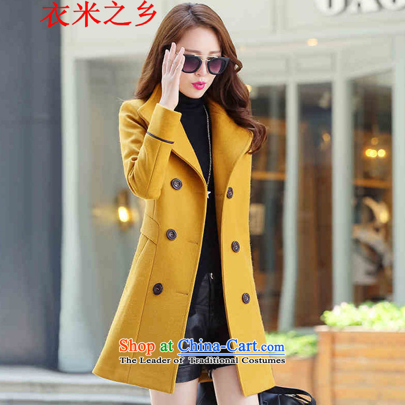 Yi m township of the 2015 Fall/Winter Collections new Korean female decorated in the body of this long coats female 837 HuangL