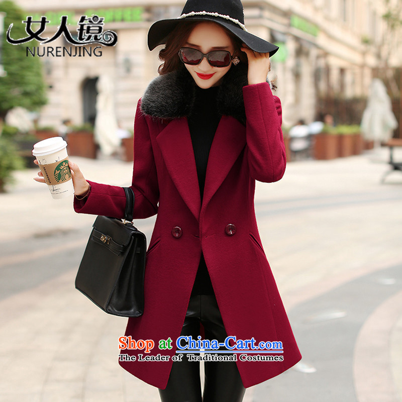 Women�15 Fall_Winter Collections mirror the new graphics thin hair so Sau San jacket _N626 cherry red燲L