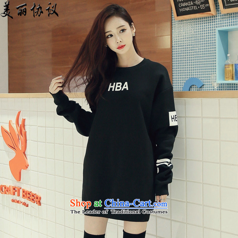 The beautiful Agreement 2015 plus lint-free thick xl female thick mm autumn and winter new English letters stamp pure cotton David SJL6185 Yi Black燲L