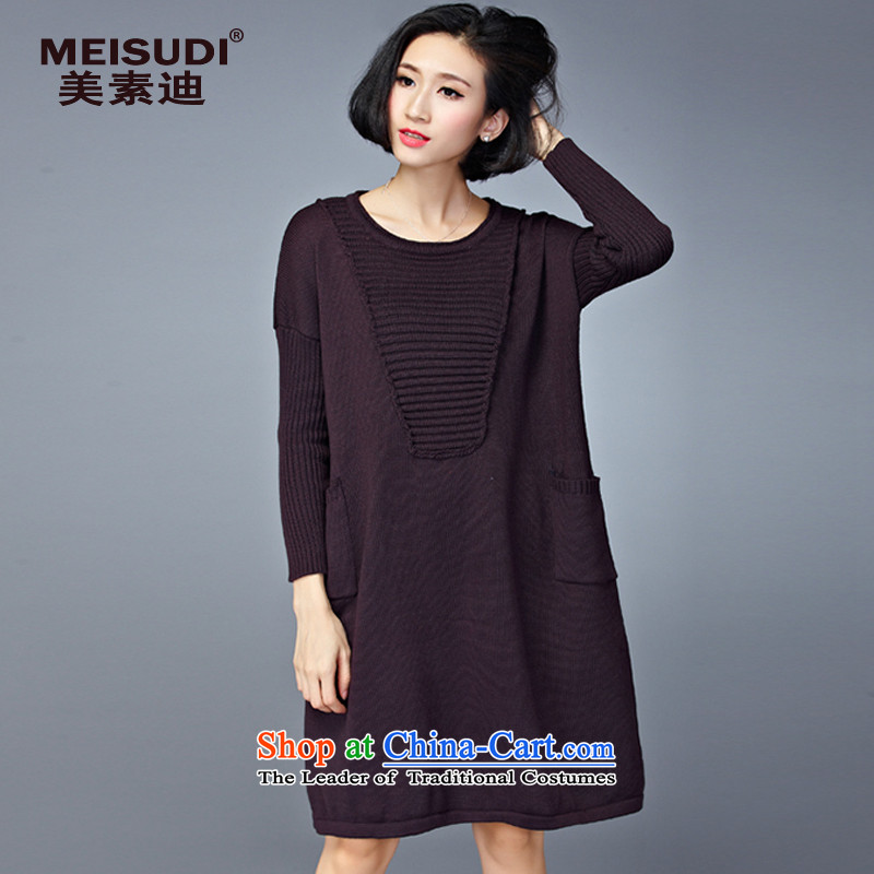 2015 Autumn and Winter Korea MEISUDI version of large numbers of ladies thick mm loose video thin wild in forming the long long-sleeved sweater dresses deep purple are code _loose_