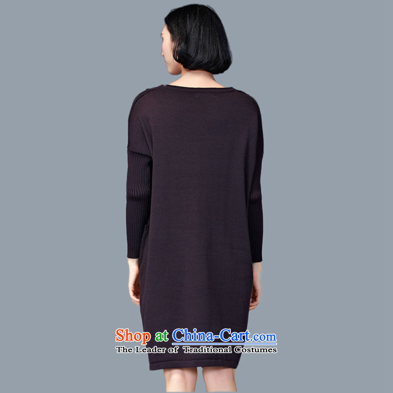2015 Autumn and Winter Korea MEISUDI version of large numbers of ladies thick mm loose video thin wild in forming the long long-sleeved sweater dresses deep purple are code (loose) (Mei Su MEISUDI) , , , shopping on the Internet