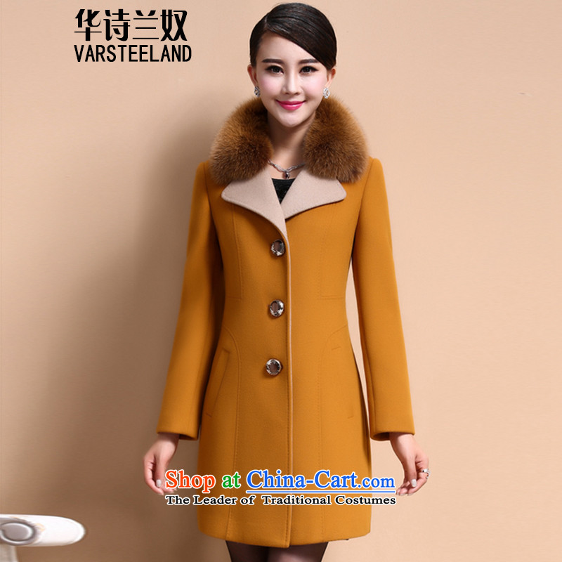 China, slave autumn and winter 2015 cashmere overcoat new girl? Long butted fox gross washable wool coat female Z238? Yellow?XL