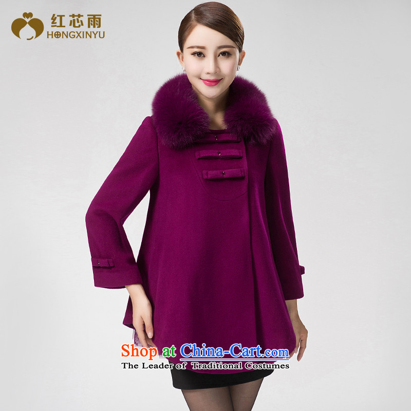 Red-woo 2015 winter new high-end cloak type cashmere overcoat Fox for Gross Gross? Long butted female XXXL Purple