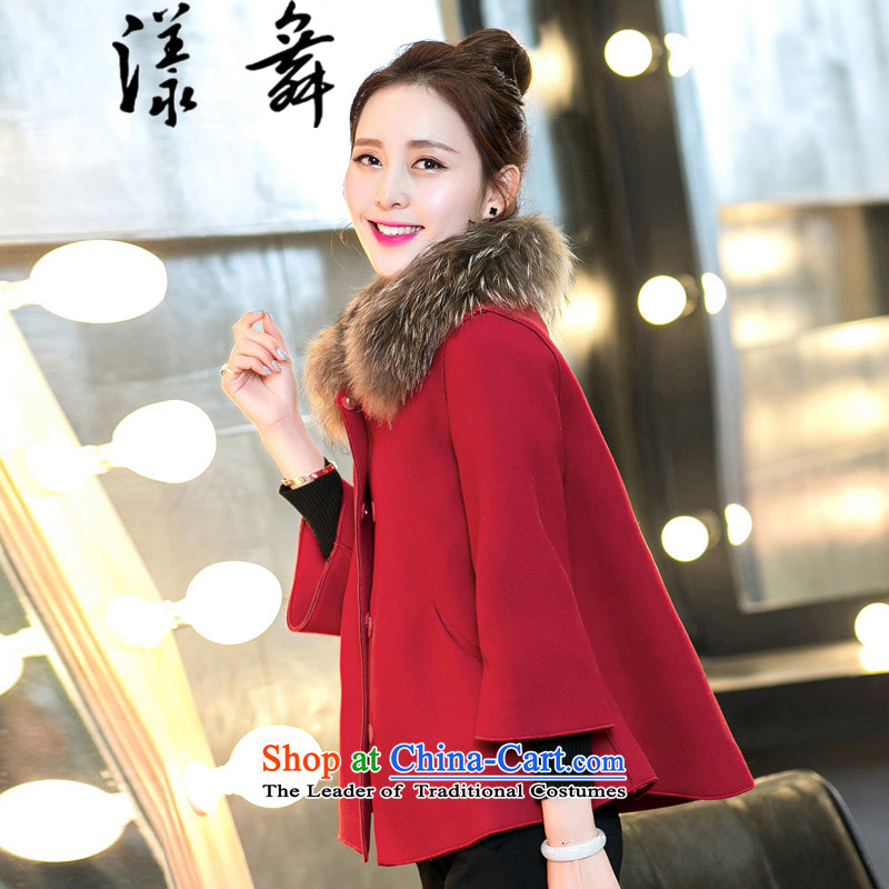 The easel Dance 2015 autumn and winter new Korean women's gross shortage of female jacket? 7 Cuff Wild Hair? shawl Doo-fung coats RED M