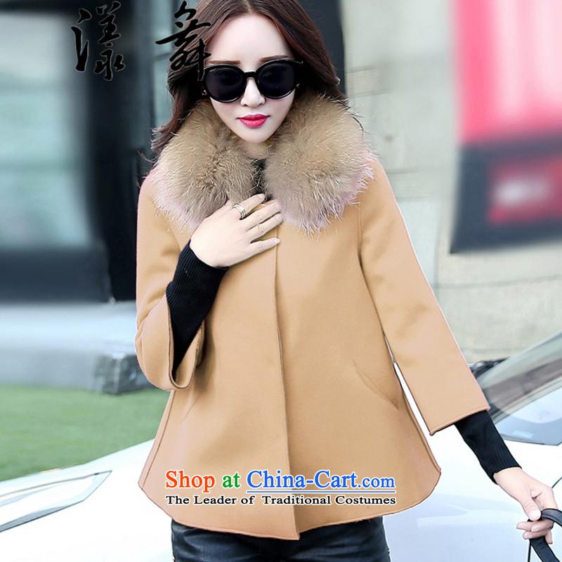 The easel Dance聽2015 autumn and winter new Korean women's gross shortage of female jacket? 7 Cuff Wild Hair? shawl Doo-fung coats Red聽Chestnut Dance (yangwu M) , , , shopping on the Internet