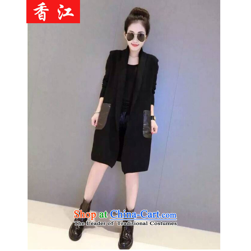 Xiang Jiang to increase women's burden of code 200 mm thick autumn replacing loose video thin plus lint-free thick coat thick sister in long wind jacket 5772 Black Large 5XL recommendations 175-215 code catty