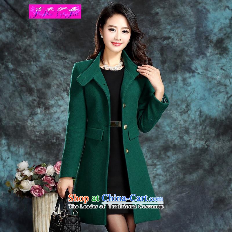 Gil Wo Ika gross? 2015 Korean female coats gross girls jacket? long thick wool Sau San a wool coat support C.O.D. emerald-XL
