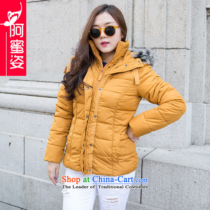 Leisure wild thick mm larger women to increase the solid color cotton clothing is a long jacket, Sau San cotton coat girls 96.8 Nai Wong Tai 5XL code
