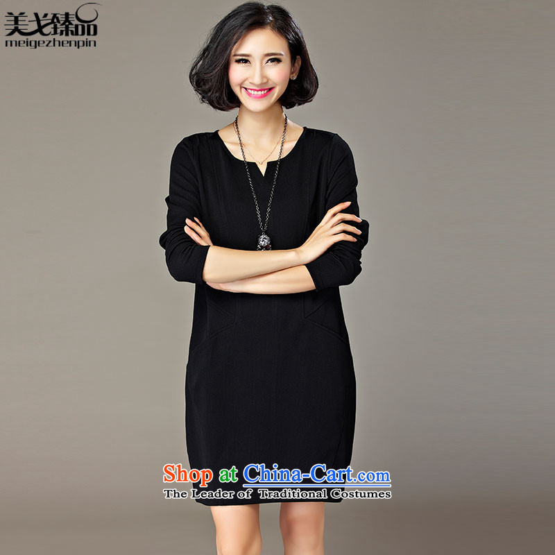 The United States and the Golan RHEA MEIYUAN燢orean autumn 2015 to increase the number of women with thick mm loose video thin charming V-Neck trendy and comfortable wear long-sleeved dresses female Black V-Neck�L 爎ecommendations 180-200 catty
