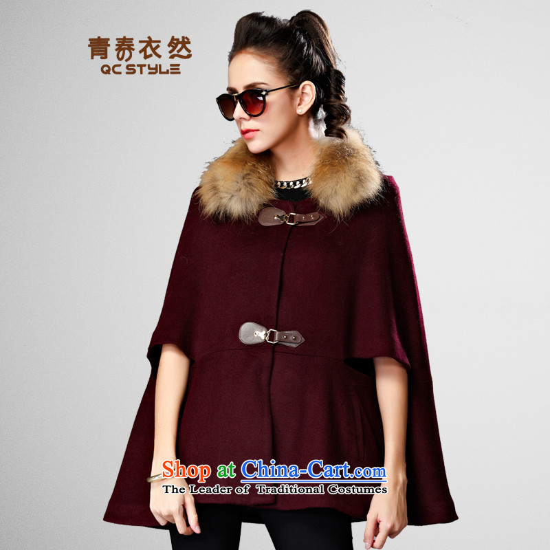 Youth Yi So 2015 Winter Western female body hair is decorated jacket with thin hair for video single row detained short of female wine red cloak? M