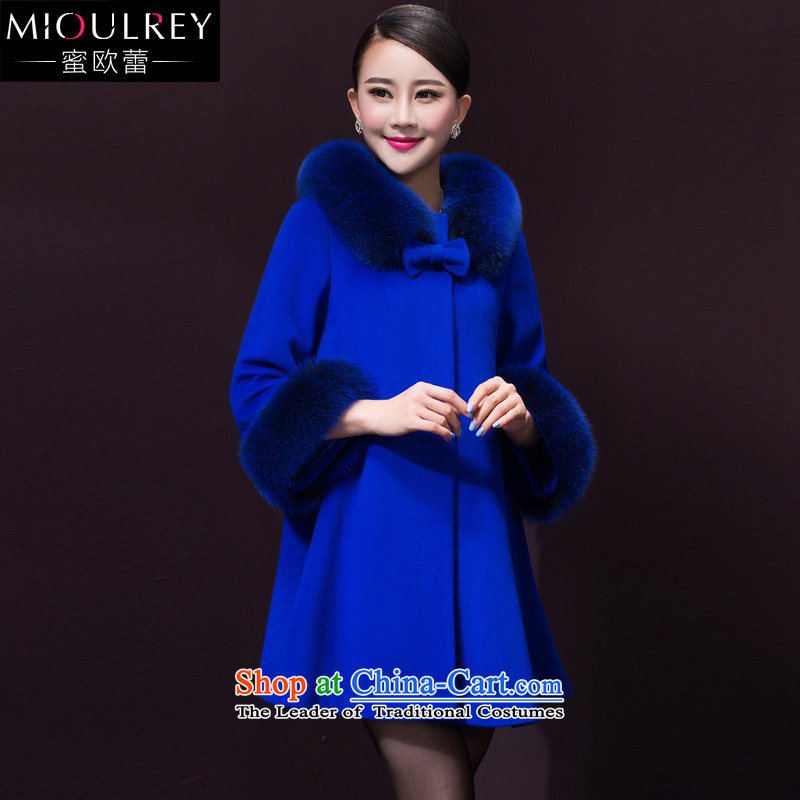 Alfa Romeo Lei cashmere overcoat female 2015 winter clothing new cloak gross butted? Long Large cashmere overcoat 499_聽3XL Royal Blue