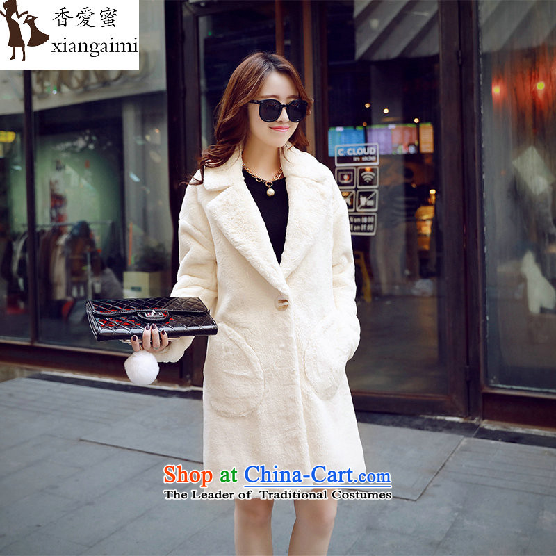 The Champs Elysees Honey Love 2015 winter clothing new larger Fat MM female hair? Korean lamb, lint-free cotton wool-thick warm in female long jacket, Opal M