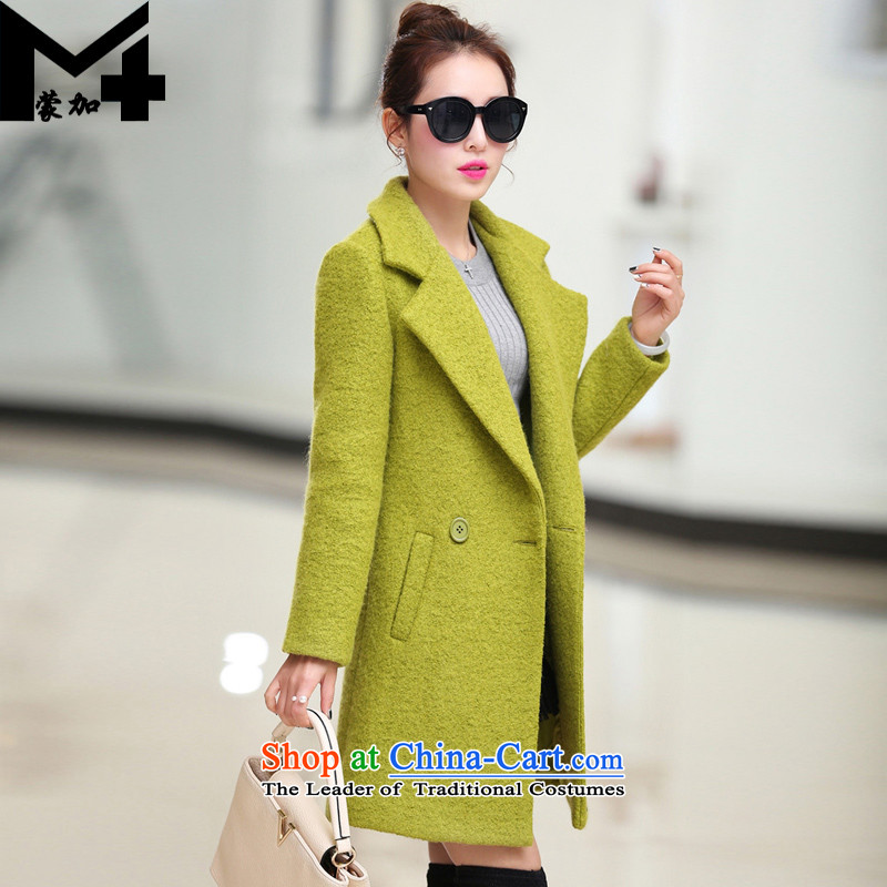 With the autumn and winter new for women Korean Solid Color Marker-jacket in gross? long trend of women a wool coat greenM