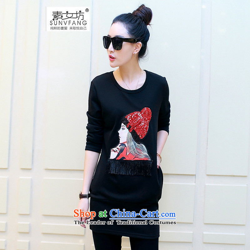 Motome square thick sister larger women forming the autumn and winter thick clothes for燼utumn and winter 2015 new stamp in the large long-sleeved T-shirt, long thick black T-shirt, forming the lint-free�L爎ecommendations 120-140 burden Weight