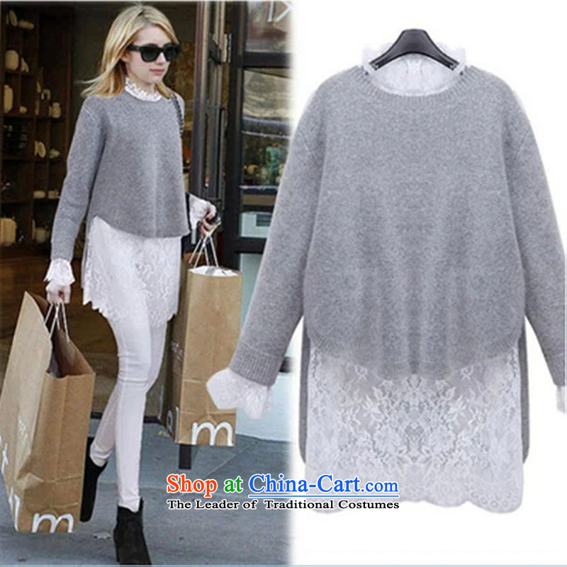 2015 Fall_Winter Collections Korean version of large numbers of ladies thick MM loose, Hin thin, thick sweater thick sister 200 catties thick Knitted Shirt + lace skirt two kit聽XXXXXL two kits