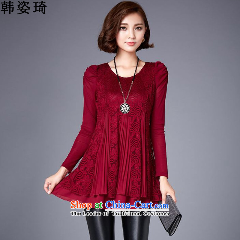 Gigi Lai Ki 2015 won the autumn and winter new larger female thick MM loose video thin plus lint-free, forming the dresses 964  XXXL wine red