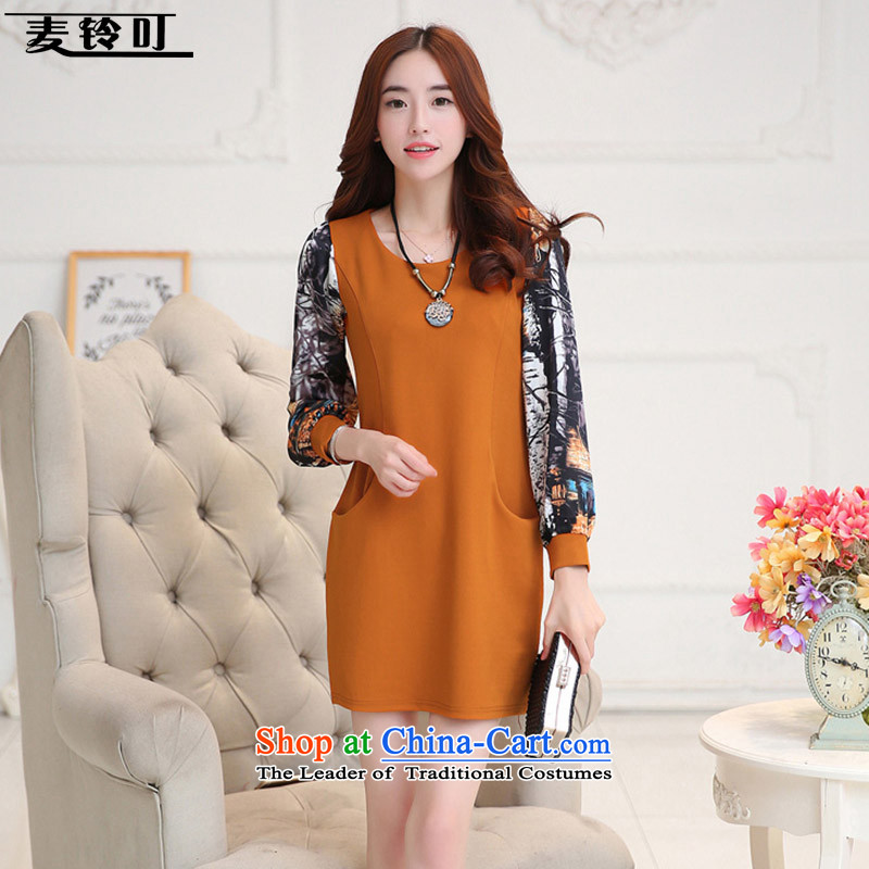 Mr ring bites 2015 autumn and winter new Korean version plus lint-free large thick women's long-sleeved stamp. long skirt 1268 ORANGE燲XL
