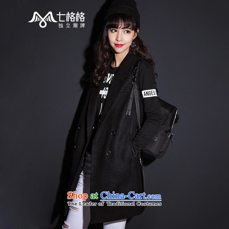 _Non-dual- 7 December聽2015 winter coats Pearl? New sleeveless jacket, a gross? female black聽M