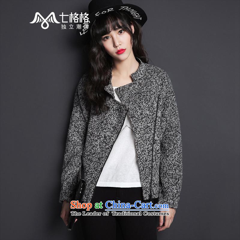 7 Huan gross? female Korean jacket2015 autumn and winter new short, loose hair girl gray jacket?M