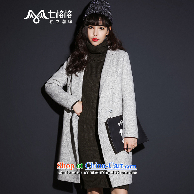 7 Huan gross? female Korean jacket 2015 winter new tri-color double-side coats gray  M
