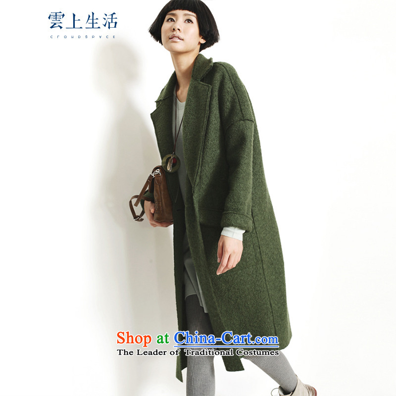 The cloud on the life of the2015 autumn and winter new arts woolen coat long jacket 53W3227 gross? oliveL