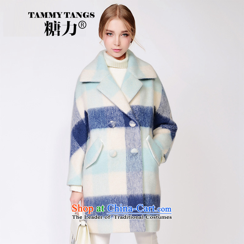 In2015 winter sugar new European sites in the lapel latticed long wool coat jacket women gross? The blue and the Green Grid _pre-sale 5 December shipment_ S
