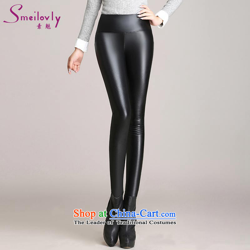 The Director of the women's code 2015 autumn and winter plus lint-free thick PU leather pants girl Sleek and versatile knitted elastic castor trousers black large code XXL around 922.747 140