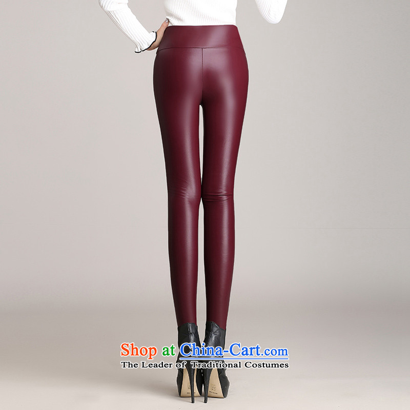 The Director of the women's code 2015 autumn and winter plus lint-free thick PU leather pants girl Sleek and versatile knitted elastic castor trousers black large code 140 around 922.747, XXL of staff (smeilovly) , , , shopping on the Internet