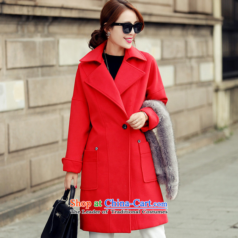 Wooden Geun-hye pockets in reverse collar long coats of $1665 Red L/165(88a)?