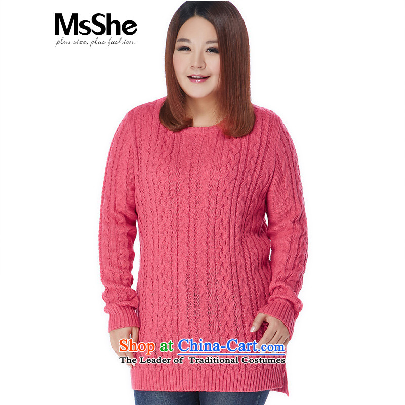 Msshe xl women 2015 new winter clothing ma pattern Long Neck Sweater pullovers 10643 5XL aubergine