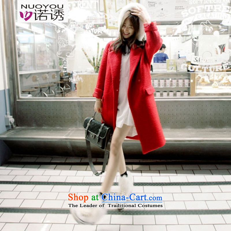 The Korean version of the 2015 incentive stylish women autumn and winter new Korean Dongdaemun pure colors in the long straight thin thick wool is video windbreaker jacket coat to gross for red L