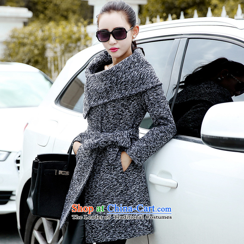 Wooden Geun-hye in long han bum coarse wool terylene 21068 MA gray jacket, Ms.聽M_160_84a_