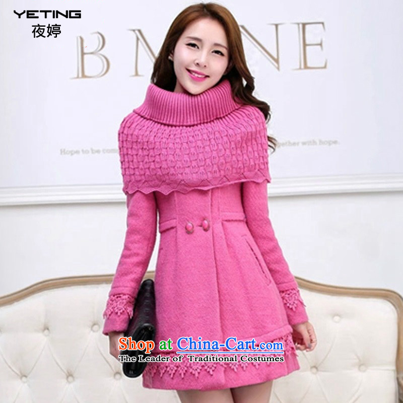 Night-ting 2015 winter clothing new lace stitching coats, wool? long hair a jacket Sau San M1520 girl in redM