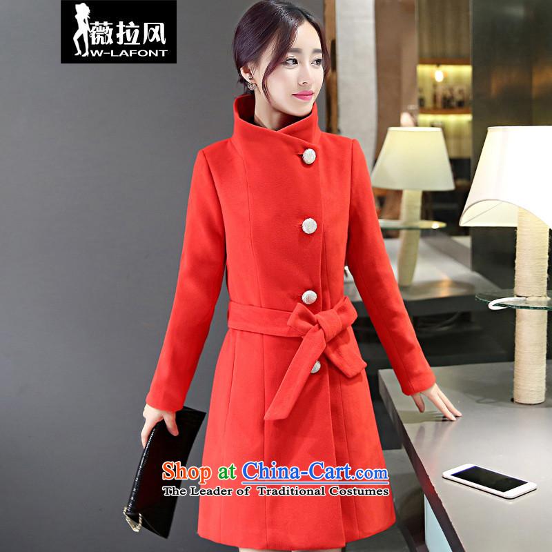 Vera wind 2015 autumn and winter new Korean female jacket is thick hair, long wool Sau San a wool coat gross? windbreaker female red燲L
