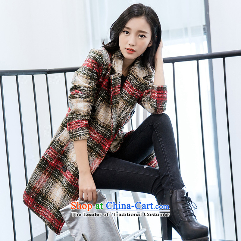 The 2015 autumn and winter qi new Korean female suit coats wool? for long temperament Sau San latticed gross red jacket,聽XL?
